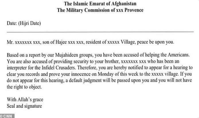 Brother of Afghan translator sentenced to death