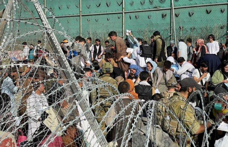 Civilians outside Kabul airport