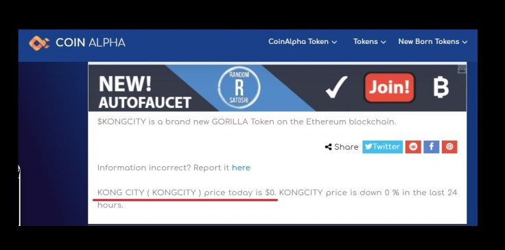 Kong City Token Coin Cryptocurrency Scam