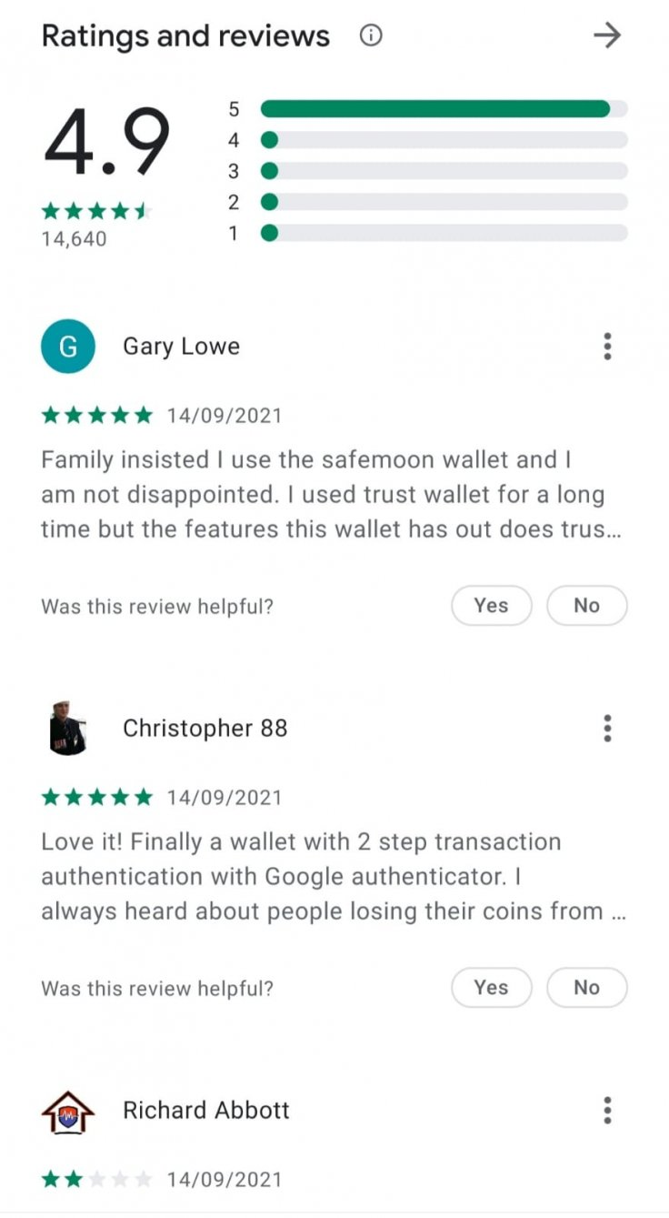 SafeMoon Wallet Reviews and Star Ratings