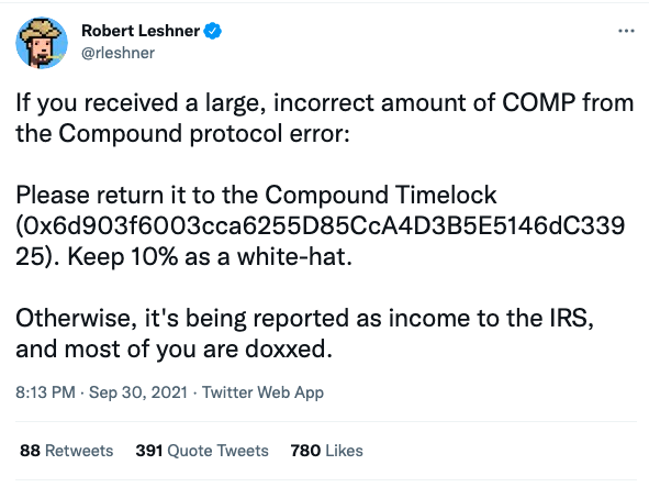 Robert Leshner COMP threatens users IRS Dox