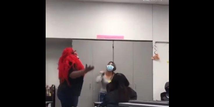 Teacher exhales