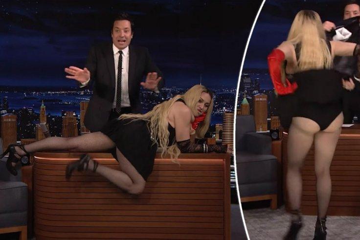 Madonna flashing and gyrating