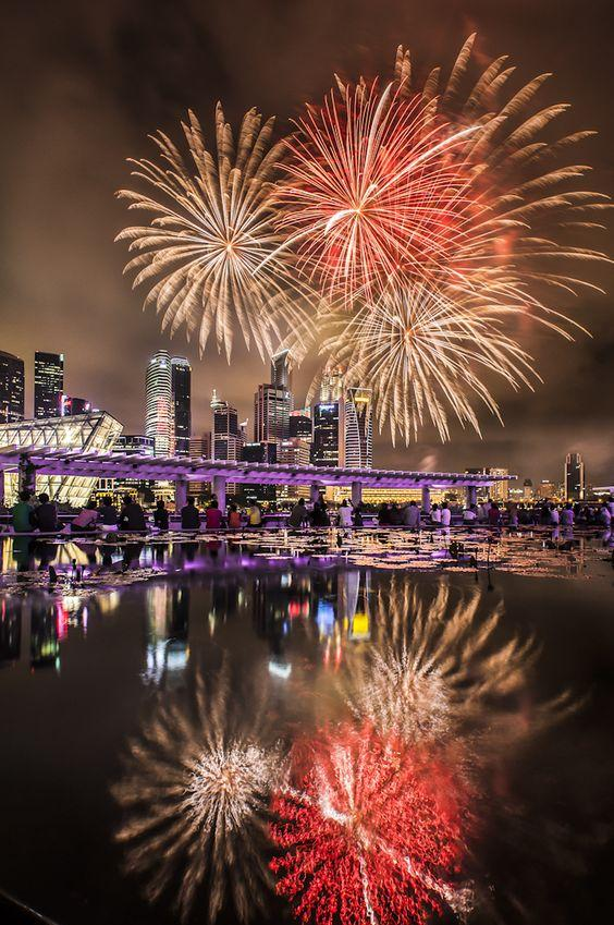 Fireworks at Marina Bay, Singapore