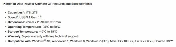 Kingston 2TB USB flash drive specifications