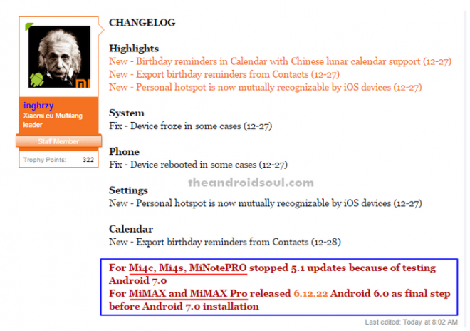 Xiaomi Mi update changelog