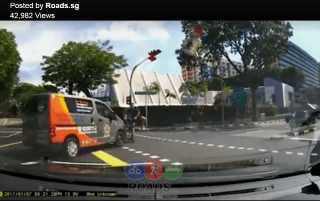 WATCH: E-scooter rider narrowly escapes getting run over by van