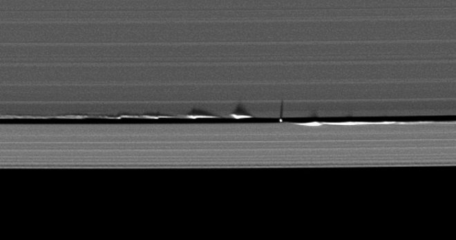 Daphnis creating weaves in Saturn's rings
