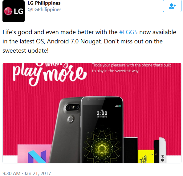 LG Philippines official tweet