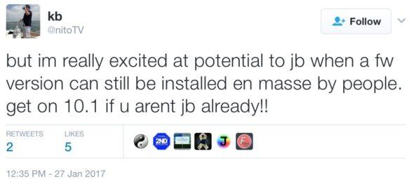 Kevin Bradley tweets about impending tvOS 10.1 jailbreak