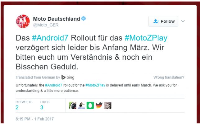 Moto Deutschland (aka Moto Germany) confirms Nougat release status for Moto Z Play and Moto G