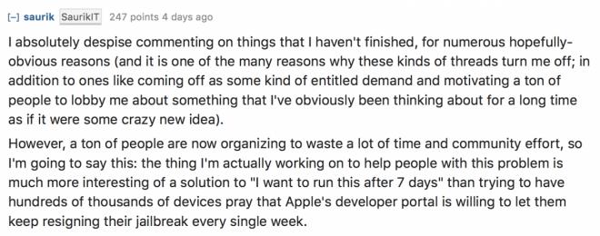 Saurik comments on Reddit