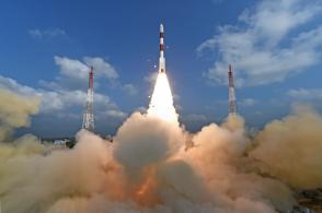 Lift off view of PSLV-C37 / Cartosat -2