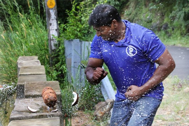 Kerala man crushes record 124 coconuts in a minute with bare hands