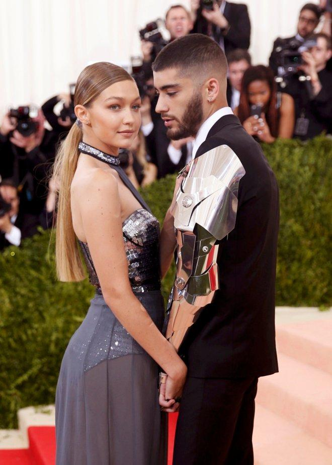Model Gigi Hadid (L) and singer Zayn Malik in the Manhattan borough of New York