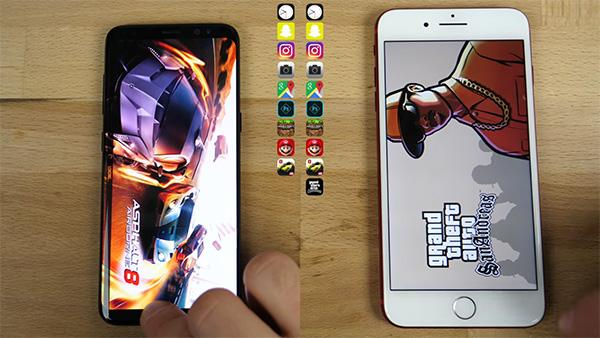 Galaxy S8 vs iPhone 7 Plus speed-test comparison