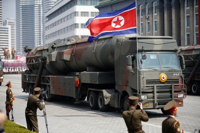 North Korea displays new missiles at parade