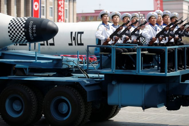 North Korea displays new missiles at parade