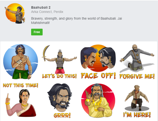 Baahubali 2 becomes the first Indian movie to have exclusive Facebook stickers