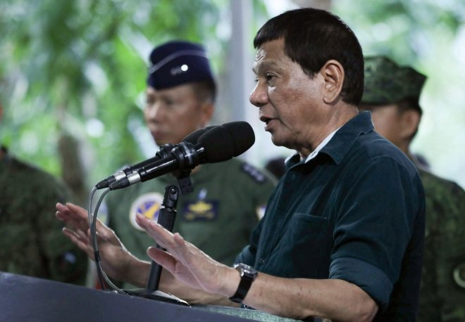 Philippines' Duterte makes rape joke for martial law troops