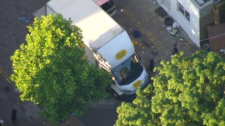 Aerial footage shows white van used by Finsbury Park attack suspect